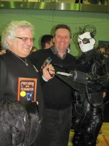 New friend Ralph Carr with a copy of one of my books, author and publisher David J Howe all about to be assimilated by the Borg